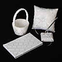 Diamond Grid Pattern White Satin Wedding Collection Set (4 Pieces Set)