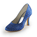 Satin Stiletto Heel Hand-made Closed Toe / Pumps With Rhinestone Party Evening Shoes (More Colors Available)