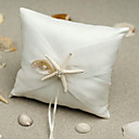Beach Themed Starfish Design White Satin Ring Pillow