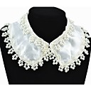 Women's Lace Edge Pearl Embellished Chiffon Collar