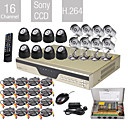 ultra baixo preo 16 canais cctv dvr kit (h.264, 16 cmeras de viso noturna sony)
