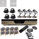  trs faible prix de 8ch H.264 DVR CCTV kit (8 camras de vision nocturne CMOS)