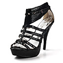 Leather Stiletto Heel Sandals Party / Evening Shoes With Applique (More Colors)