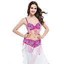 Performance Dancewear Beading Polyester Belly Dance Top And Belt For Ladies