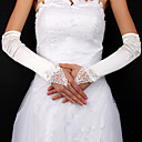 Satin / Lace Bridal Fingerless Elbow Length Gloves