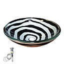 Black and White Tempered Glass Vessel Sink With Pop up and Mounting ring