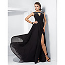 A-line Jewel Sweep/Brush Train Chiffon Evening Dress With Split Front inspired by Ziyi Zhang at the 84th Oscar