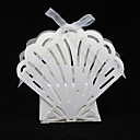 Laer Cut Shell Shaped Favor Box With Ribbon (Set of 12)