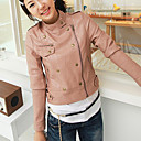Long Sleeve Standing Collar Evening/ Office PU Jacket With Pockets/ Buttons (More Colors)