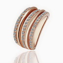 Gorgeous Cubic Zirconia 18K Gold Plated Three Layer Fashion Ring