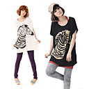 Fashion Zebra Pattern Lady Bat Sleeve T-shirt