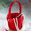 Flower Girl Basket In Red Sash With Rhinestone