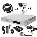 Anko - 8-Kanal-h. 264 CCTV DVR-Kit (500g Festplatte + 8 Outdoor Wasserdicht Farbkameras)