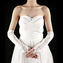 Satin / Lace Fingerless Elbow Length With Pearls / Embroidery Bridal Gloves (More Colors)