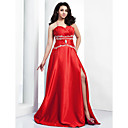 A-line Halter Floor-length Stretch Satin Evening Dress