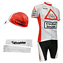 Cycling BIB Suits with Cap and Arm Warmers(Red and White)