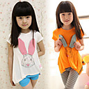 Cartoon Rabbit Pattern Girls Short Sleeve T-shirt