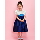 A-line/Ball Gown Jewel Tea-length Taffeta Flower Girl Dress With Ribbon