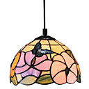 60W Tiffany Pendant Light with 1 Light Flower And Butterfly Pattern