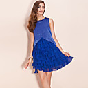 TS Shimmering Fabric Layered Chiffon Ruffle Dress
