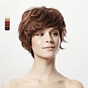 Capless Short Curly Brown 100% Human Hiar Wig 5 Colors To Choose