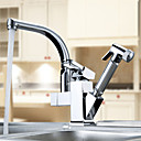 Centerset robinet de la cuisine contemporaine deux becs (finition chrome)