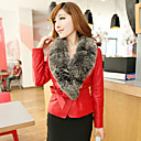 Long Sleeve Fox Fur Collar Career/Evening Lambskin Leather Jacket (More Colors)