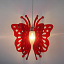 60W Artistic Acrylic Pendant Light with 1 Light in Red Butterfly Design
