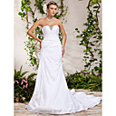 Trumpet/Mermaid Strapless Chapel TrainCrystal Side-Draped Beading Wedding Dress