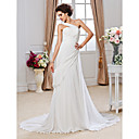 Sheath/ Column One Shoulder Court Train Chiffon Wedding Dress