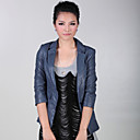 Fashion Turndown Collar Party / Career agnello Leather Jacket