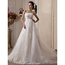A-line Scalloped-Edge Chapel Train Tulle Satin Wedding Dress