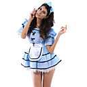 Sexy and Cute Blue White Lace Polyester Women's Dress Halloween Costume