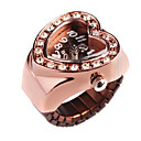 Charming Alloy Heart Design Crystal Adjustable Ring Watch