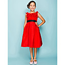 Ball Gown Jewel Knee-length Taffeta Junior Bridesmaid Dress