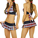 Des femmes sexy costumes Halter Plaid (2 Pices)