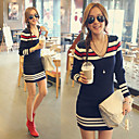 Fashion V-neck Stripes Long Sleeve Knitwear