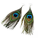 Bohemian National Wind Peacock Feather Earrings