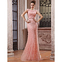 Trumpet Mermaid Bateau Sweep Brush Train Tulle Over Chiffon Luxurious Dresses