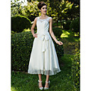A-line Scoop Tea-length Lace Organza Wedding Dress