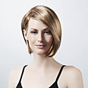 Capless korte bob blonde synthetische pruik lange zijde bang