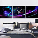 12 &quot;-24&quot; Horloge murale moderne style abstrait en toile 3pcs