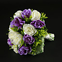 Lovely Round Hand-tied Satin Rose Wedding Bouquet