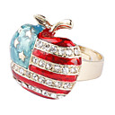 The Stars and The Stripes Apple Shape Gold Plate Ring
