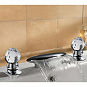 Contemporary Two Handle Solid Brass Chrome Finish Waterfall Bathroom Sink Faucet