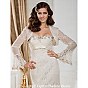Elegant Long Sleeves Organza and Lace Bridal Jacket/ Wedding Wrap