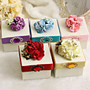 Classic Favor Boxes With Flower And Ribbon - Set of 12 (More Colors)