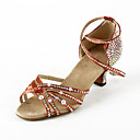 Women's Rhinestone / Satin Upper Ankle Strap Latin / Salsa Dance Performance Shoes