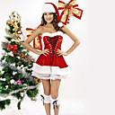 Fancy Ribbon Lace Red Velvet Christmas Costumes(3 Pieces)