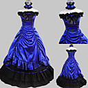 Ärmellose bodenlangen Blue Satin Cotton Aristocrat Lolita Kleid